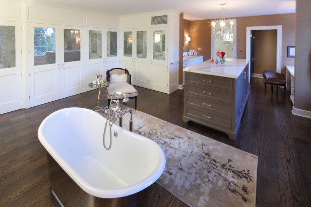 One of the most rewarding portions of the design consult was dreaming up the bathroom with the client. We were so thrilled that the glamourous bathtub settled so nicely into its decadent location in front the comforting fireplace.