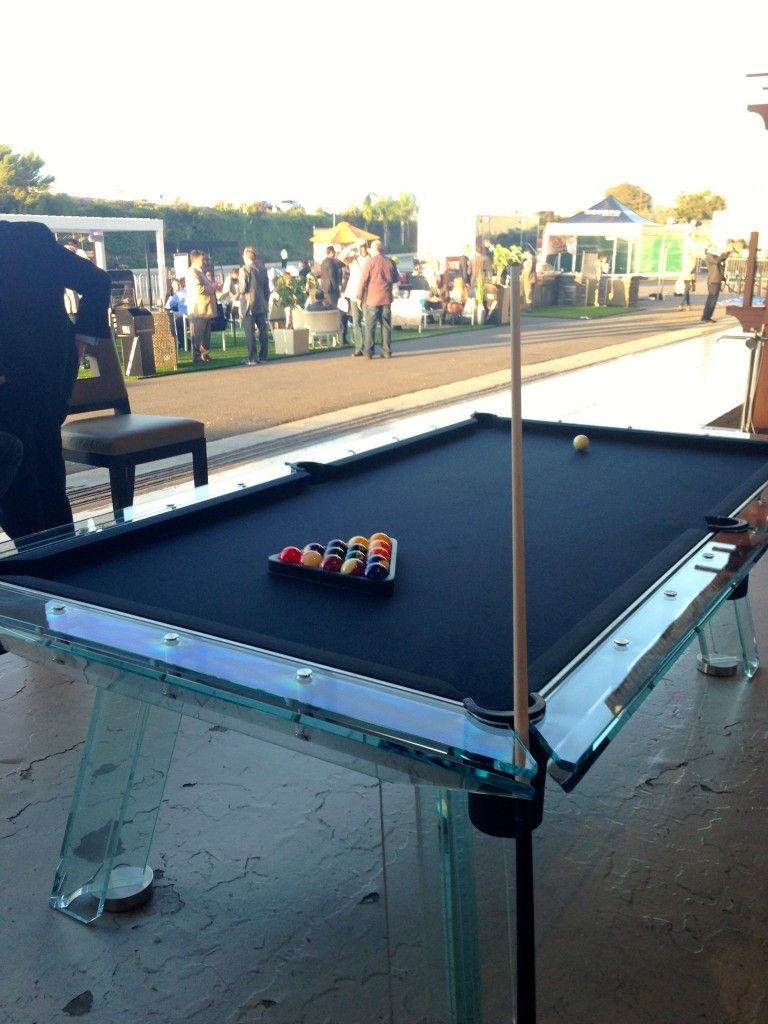 need a bit of restraint to rack up on this glass billiards table